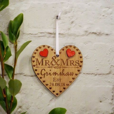 Personalised Mr and Mrs Wooden Heart Hanging Decoration, Wedding Day Gift